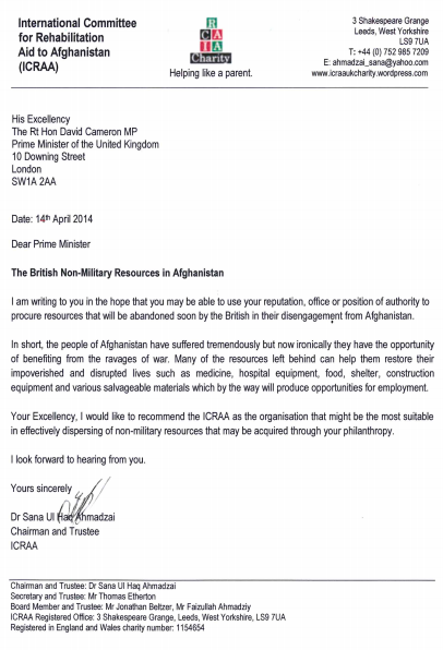 ICRAA Charity UK Letter to The Rt Hon David Cameron MP 14 April 2014